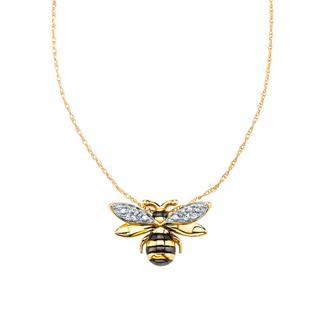 Yellow gold honeybee pendant