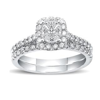 White gold bridal set with Love Cut cushion shape design center