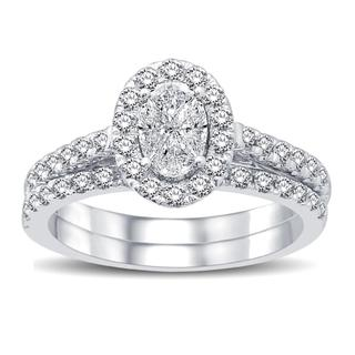 White gold engagement ring with Love Cut oval shape design center