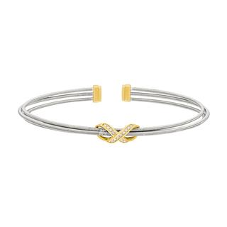 Flexible sterling silver bracelet with simulated diamonds