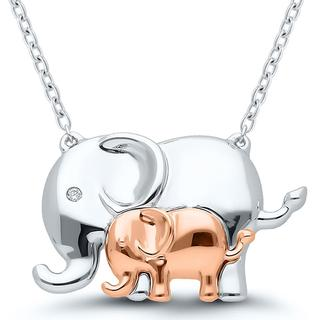 Sterling silver pendant with two elephants