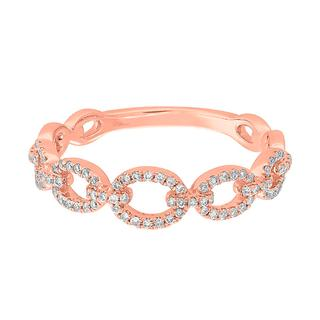 Rose gold diamond link ring