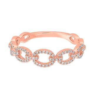 Rose gold diamond link ring