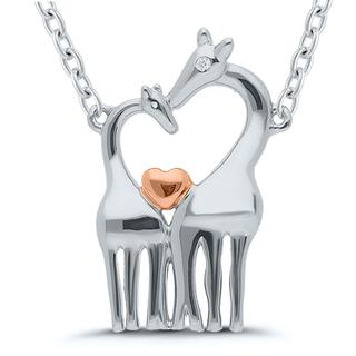 Sterling silver pendant with two giraffes