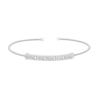 Flexible sterling silver cuff bracelet with beads and simulated diamonds