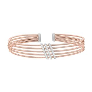 Rose gold finish sterling silver cuff bracelet with simulated diamond bars