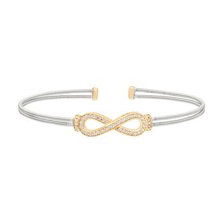 Flexible sterling silver bracelet with simulated diamond eternity