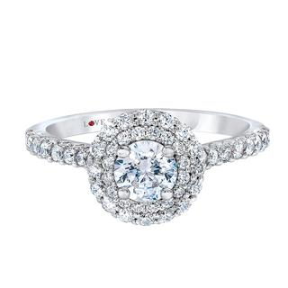 White gold engagement ring with double halo