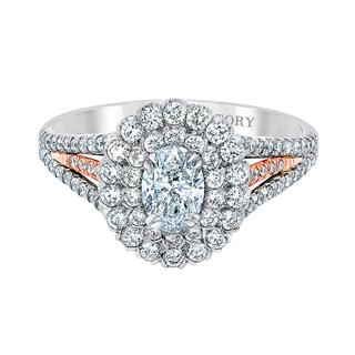 Two tone engagement ring with oval center