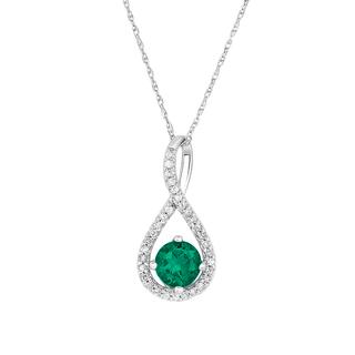 Emerald and diamond sterling silver pendant