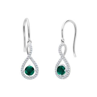 Emerald and diamond sterling silver earrings
