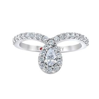 White gold engagement ring with pear shape drop center