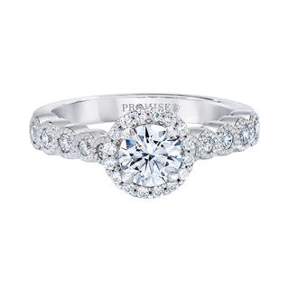 White gold engagement ring with round center
