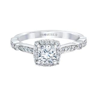 White gold engagement ring with cushion cut center