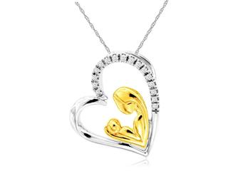 Two tone diamond pendant with Mother and Child