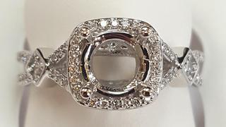 White gold semi split shank engagement ring