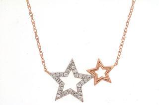Rose gold diamond star necklace