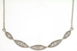 White gold diamond necklace with marquise shapes