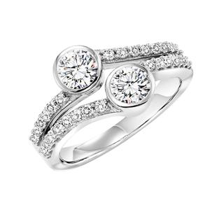 Twogether ring with two bezel diamonds