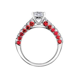 Semi mount engagement ring with rubies and diamonds