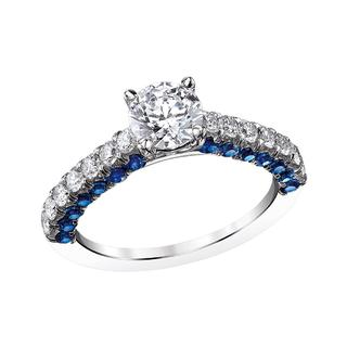 Semi mount engagement ring with sapphires and diamonds
