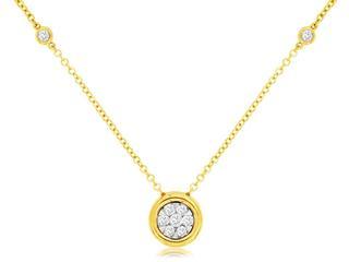 Yellow gold diamond bezel cluster station necklace
