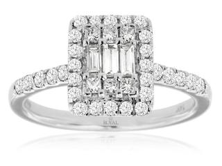White gold baguette, round and princess cut diamond ring