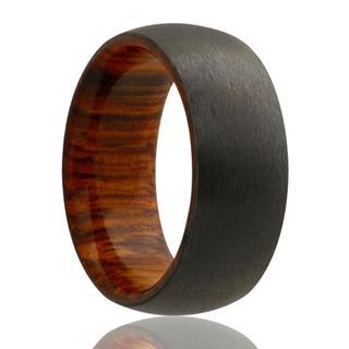 Men's zirconium band with wood sleeve