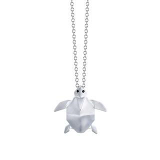 Sterling silver origami turtle pendant