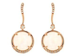 Opal and diamond dangle earrings