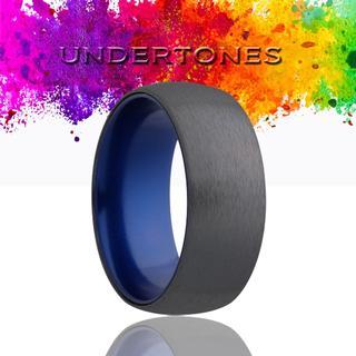 Men's zirconium band with blue undertones