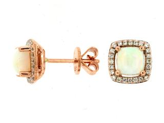 Rose gold opal and square diamond halo earrings