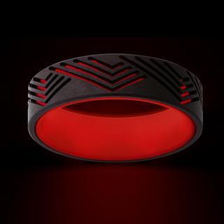 Men's zirconium band with red glow