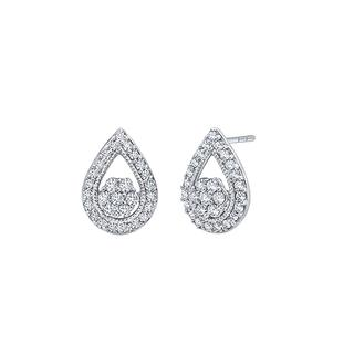 Sterling silver pear shape diamond earrings