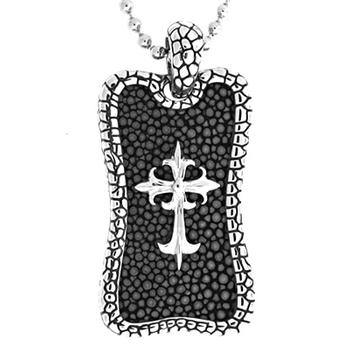 Men's stingray leather cross dog tag