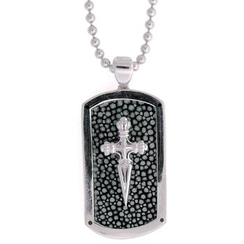 Men' s sterling silver stingray dog tag pendant