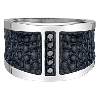 Maksim stainless steel leather ring