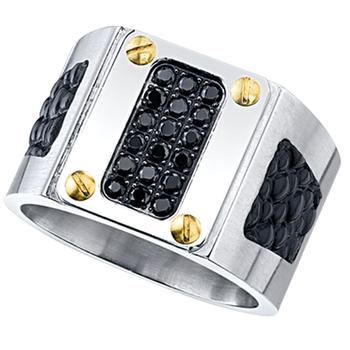 Maksim stainless steel black leather and cz ring