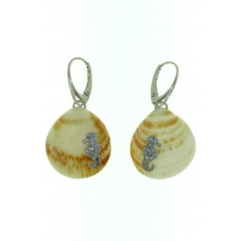 Sterling silver leverback shell earrings