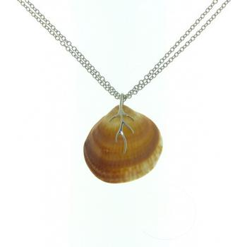 Sterling silver double chain adjustable shell pendant