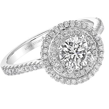 White gold double halo semi-mount engagement ring