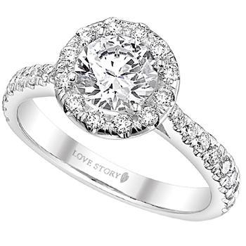White gold halo semi-mount engagement ring