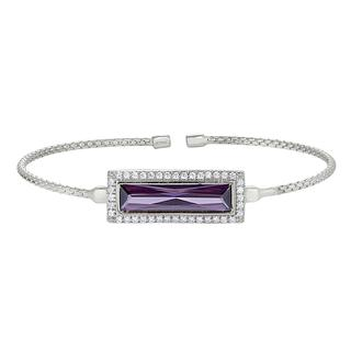 Sterling silver cable cuff bracelet with simulated amethyst stone