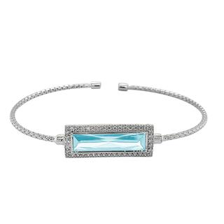 Sterling silver cable cuff bracelet with simulated aquamarine stone