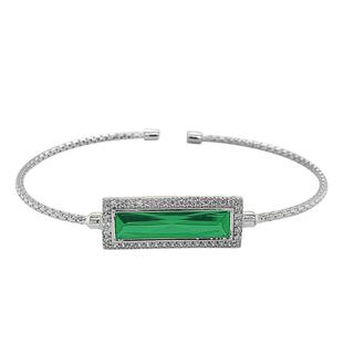 Sterling silver cable cuff bracelet with simulated emerald stone