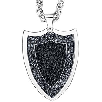Stainless steel black leather shield pendant