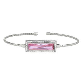 Sterling silver cable cuff bracelet with simulated pink sapphire stone