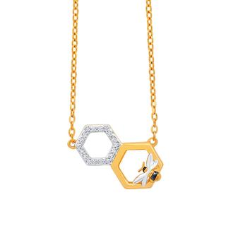 Yellow gold hexagons with honey bee pendant