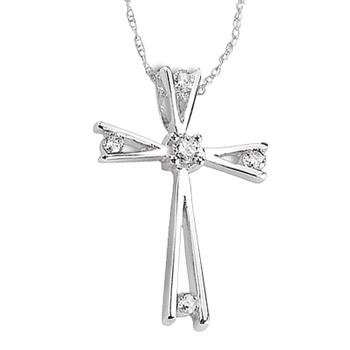 Sterling silver cross with diamond accents