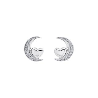 Sterling silver moon and heart earrings